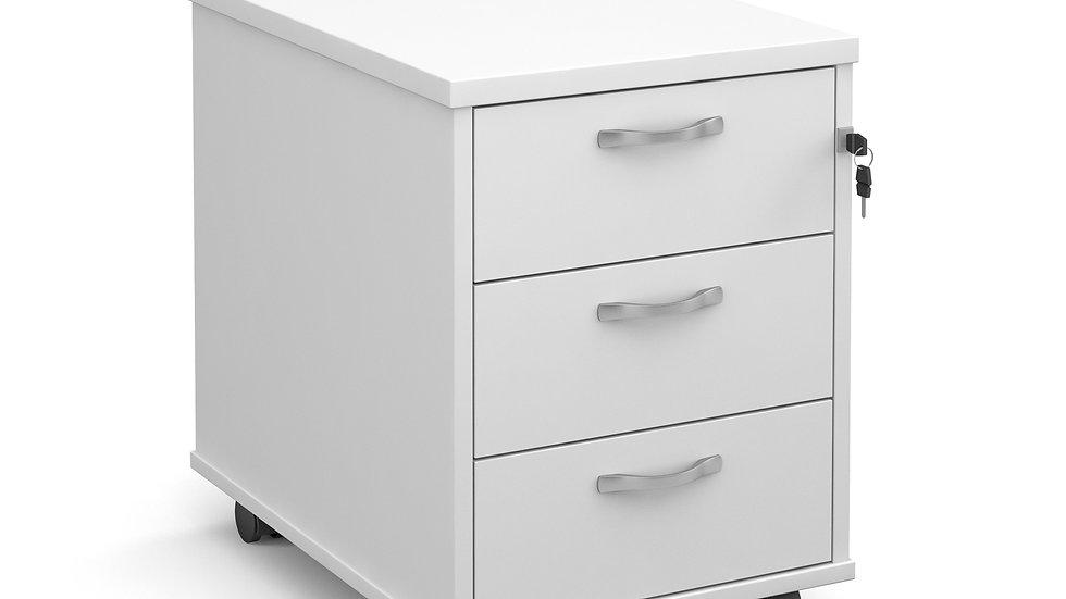Mobile 3 drawer under desk pedestal with silver handles 600mm deep
