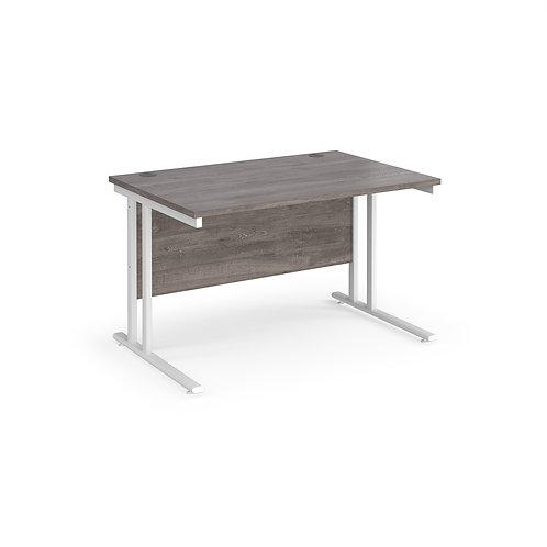 Home Workstation desk  - white cantilever leg frame, Grey top
