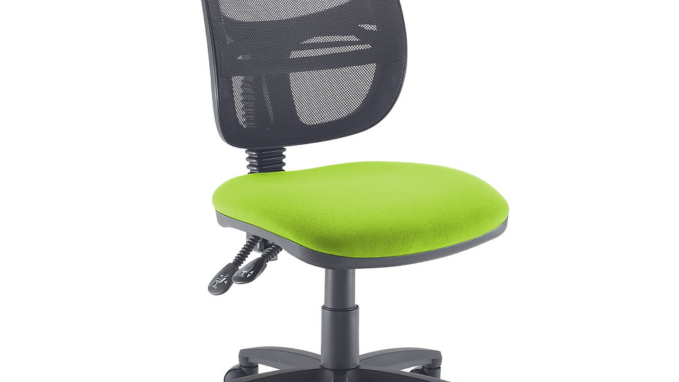 Mesh medium back operators chair with no arms- Green Seat