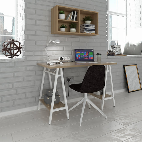 Pello home office workstation with trestle legs