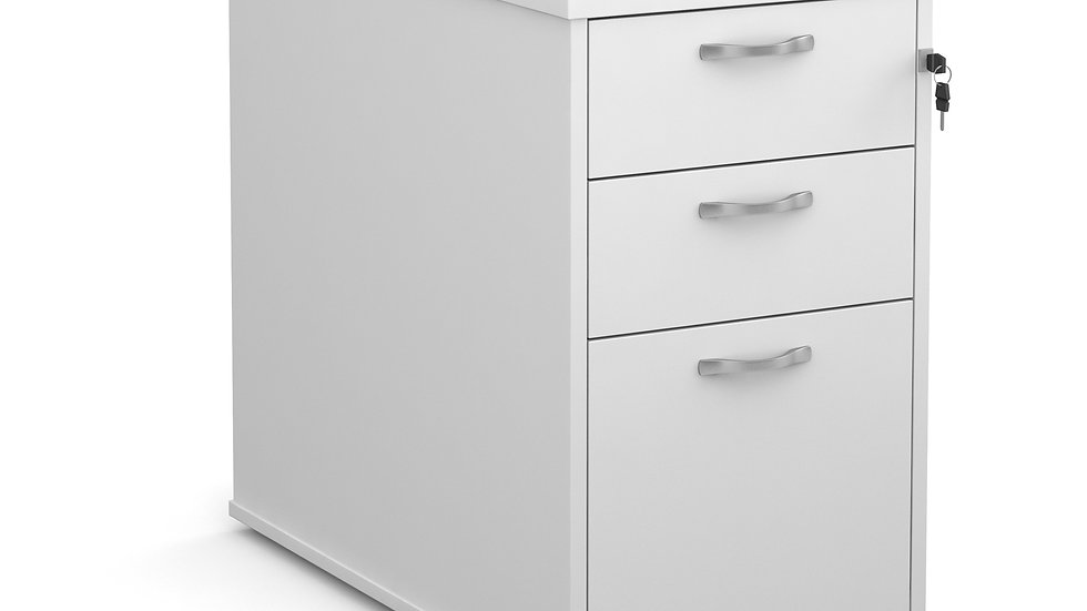 Desk high 3 drawer pedestal with silver handles 800mm deep