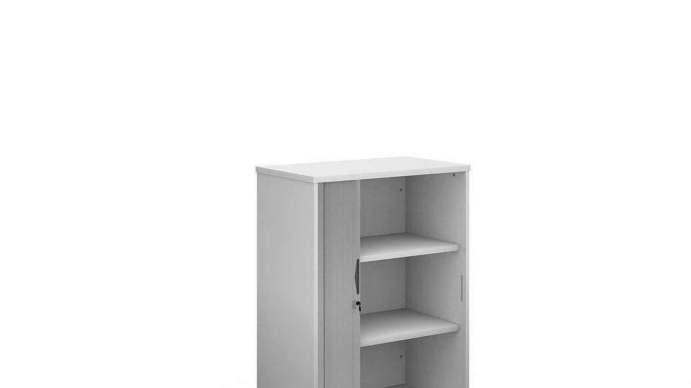 Single Silver door tambour cupboard 1090mm high with 2 shelves