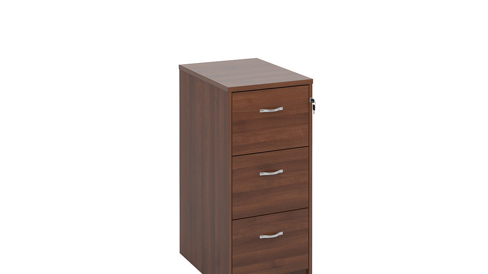 Wooden 3 drawer filing cabinet with silver handles 1045mm high
