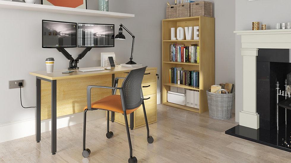 Black H-frame leg home office desk with beech top