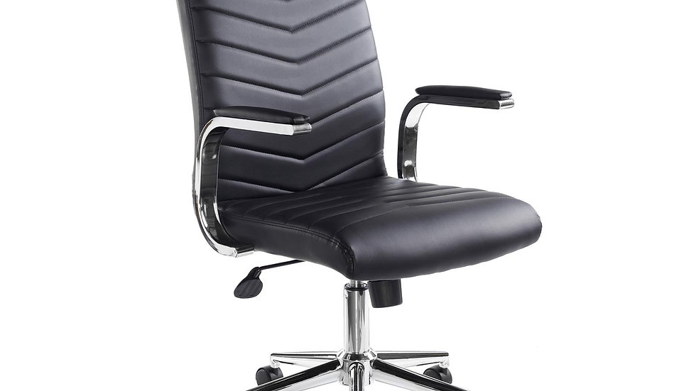Martine high back leather look managers chair - Black