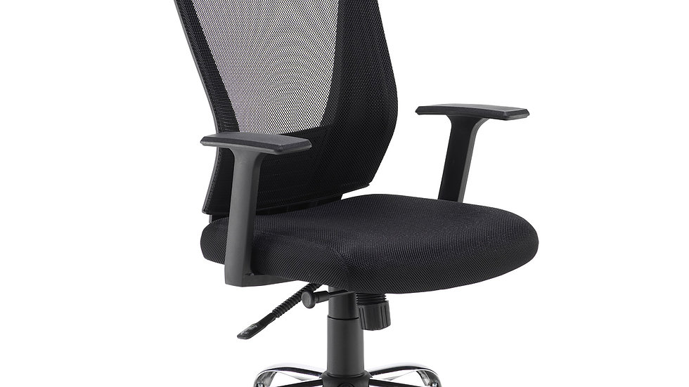 Milton black mesh back operator chair with black fabric seat and chrome base
