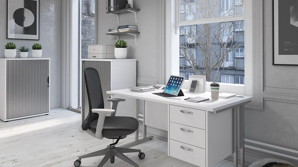 Home Workstation desk  - silver cantilever leg frame, white top , 3 fixed drawer