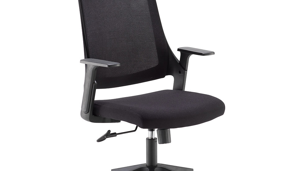 Reactive black mesh chair