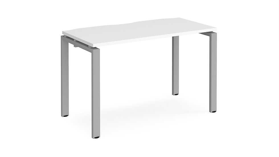 Adapt single desk - silver frame, white top