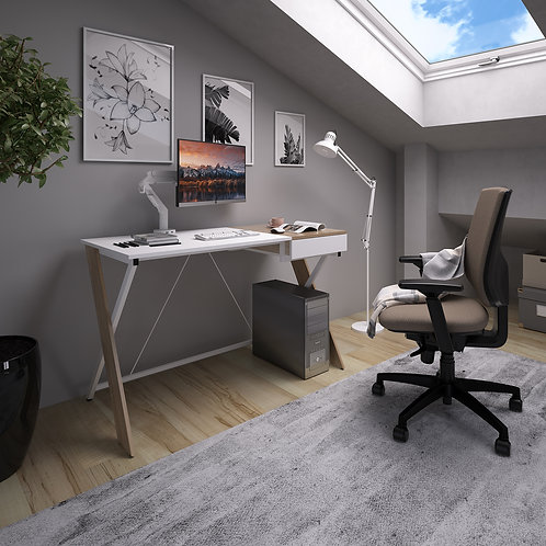 Sloan workstation with pull out drawer - English oak with white frame