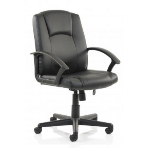 Home Executive Managers Chair Black Leather Faced