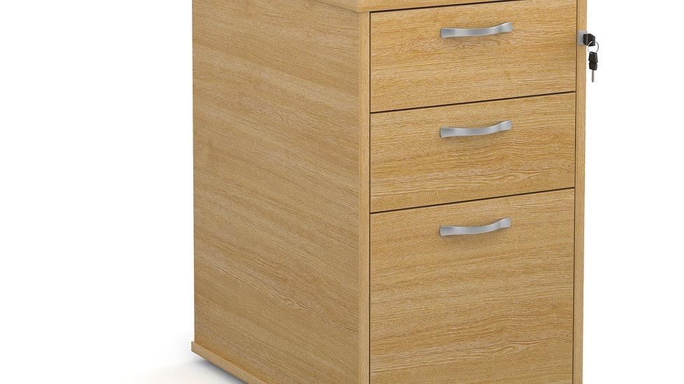 Desk high 3 drawer pedestal with silver handles 600mm deep