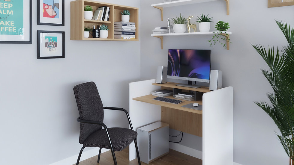 Home office computer desk with writing shelf