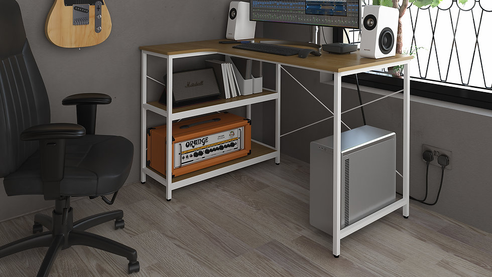 Home office corner workstation with integrated shelving