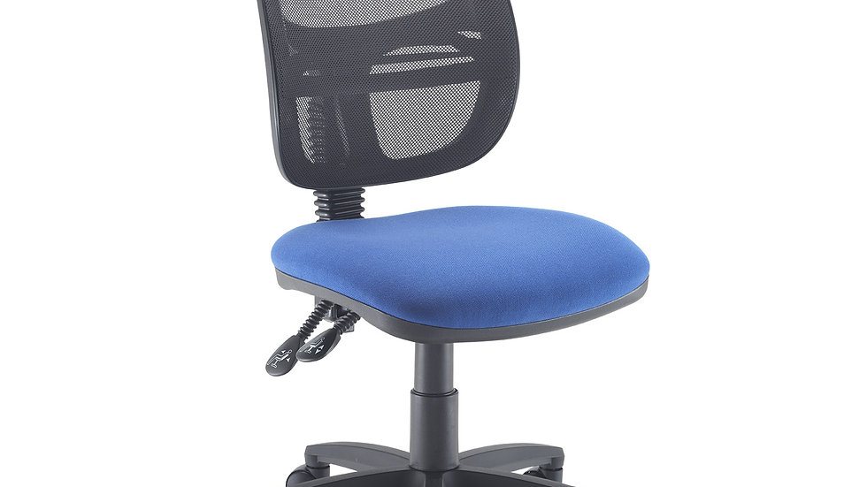 Mesh medium back operators chair with no arms- Blue Seat