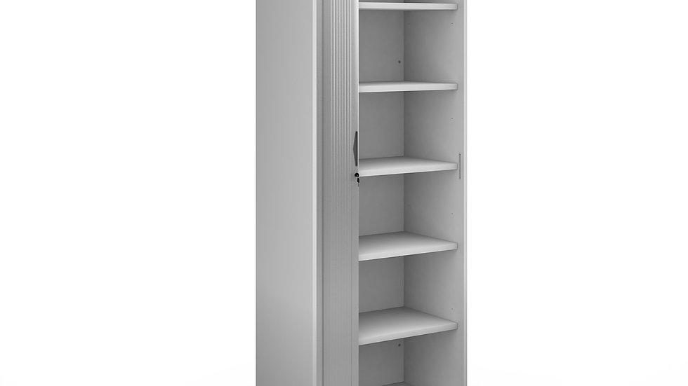 Silver door tambour cupboard 2140mm high with 5 shelves