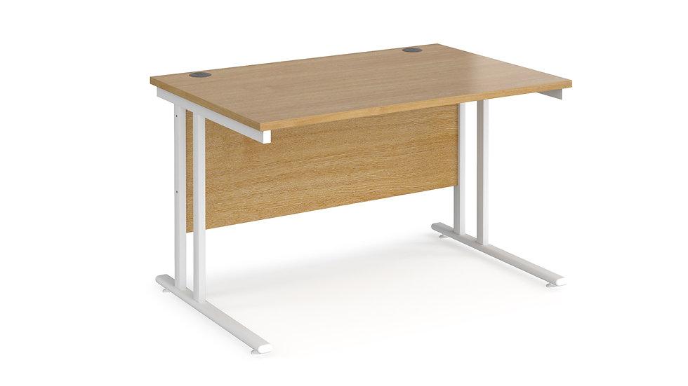 Home Workstation desk  - white cantilever leg frame, oak top