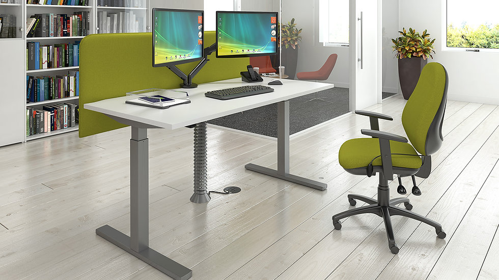 Height adjustable sit-stand desk 1400mm x 800mm - silver frame