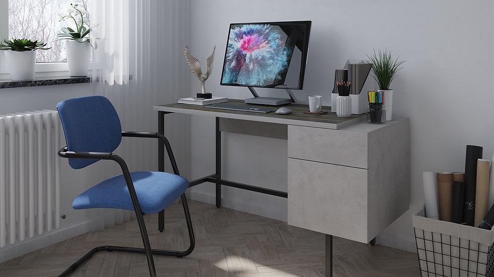 Miller workstation with integrated pedestal – Concrete grey with black frame