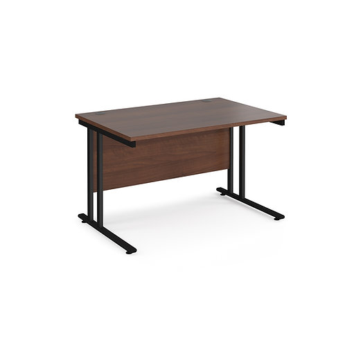Home Workstation desk  - black cantilever leg frame, walnut top