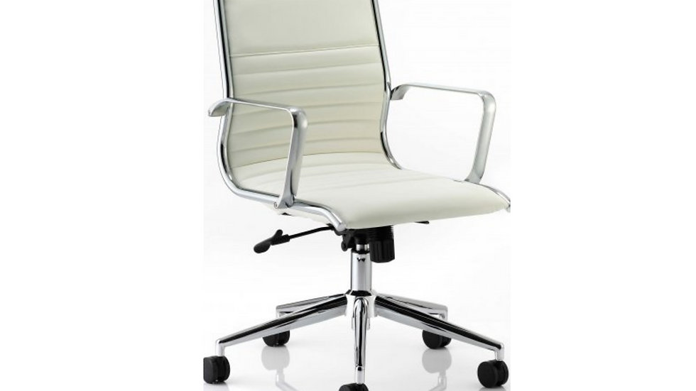 Classic Executive Chair - Ivory Bonded Leather - medium back
