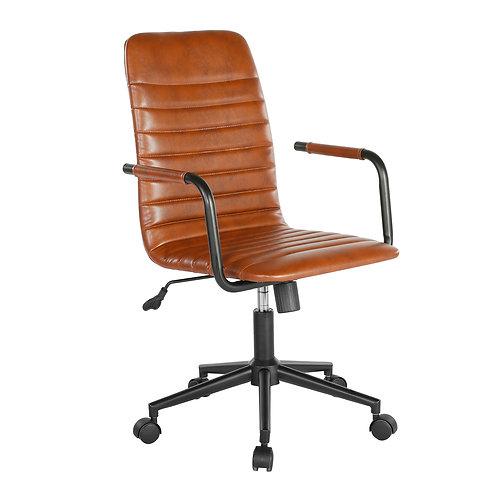 Medium back  leather look swivel chair - brown