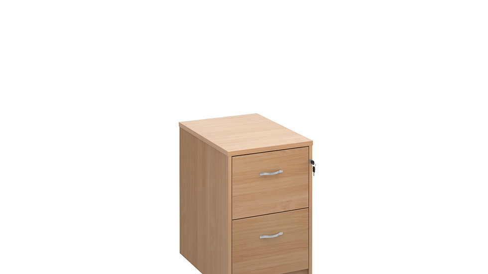 Wooden 2 drawer filing cabinet with silver handles 730mm high