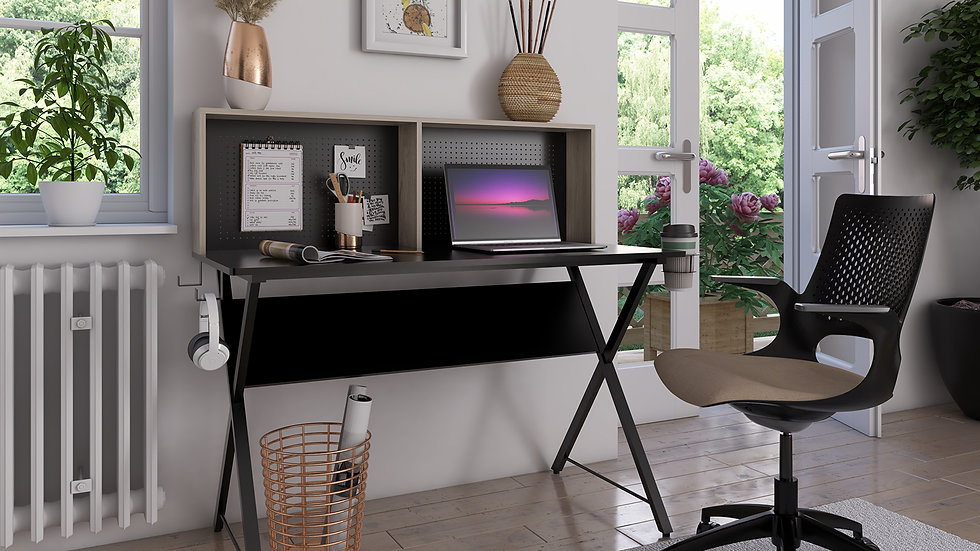 Elona home office workstation with shelving storage unit