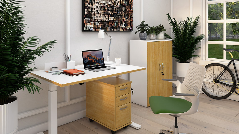 Height adjustable sit-stand desk 1200mm x 800mm - white frame