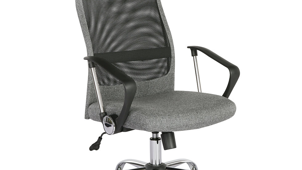 Grey high back operators chair with mesh back and headrest