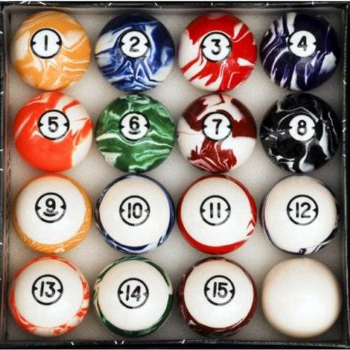 "2 1/4"" Marbelized Pool Ball Set"