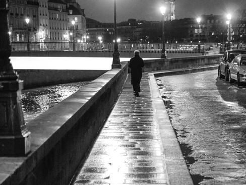 The man alone in the street