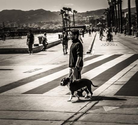 The man crossing