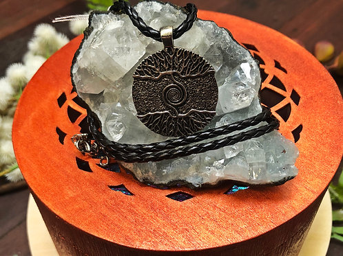 Tree of Life Metal Pendant on Leather Cord Necklace
