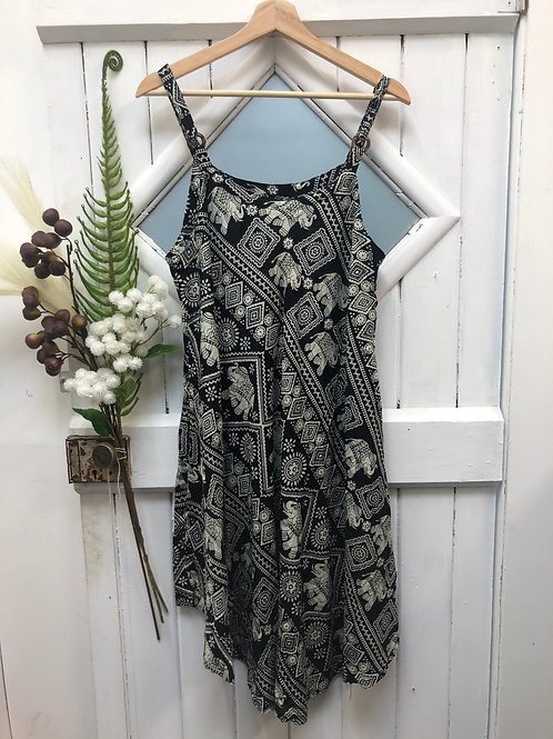 Boho Hippie Dress Mid Black White Ele Ganesh