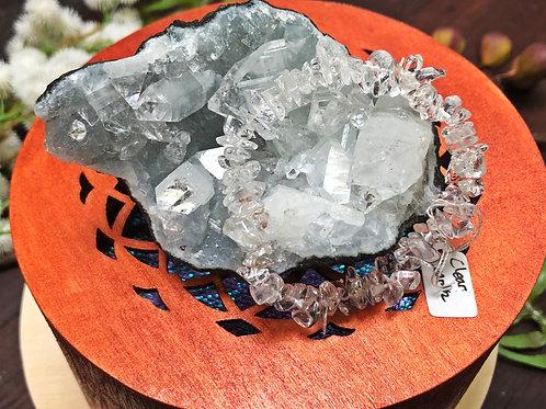 Clear Quartz Semiprecious Stone Chip Bracelet