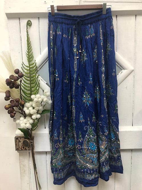 Hippie Boho Gypsy Skirt Long Blue