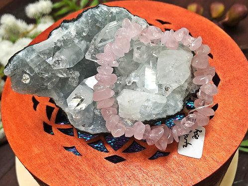 Rose Quartz Semiprecious Stone Chip Bracelet