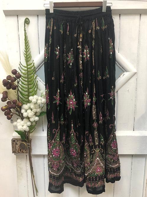 Hippie Boho Gypsy Skirt Long Black