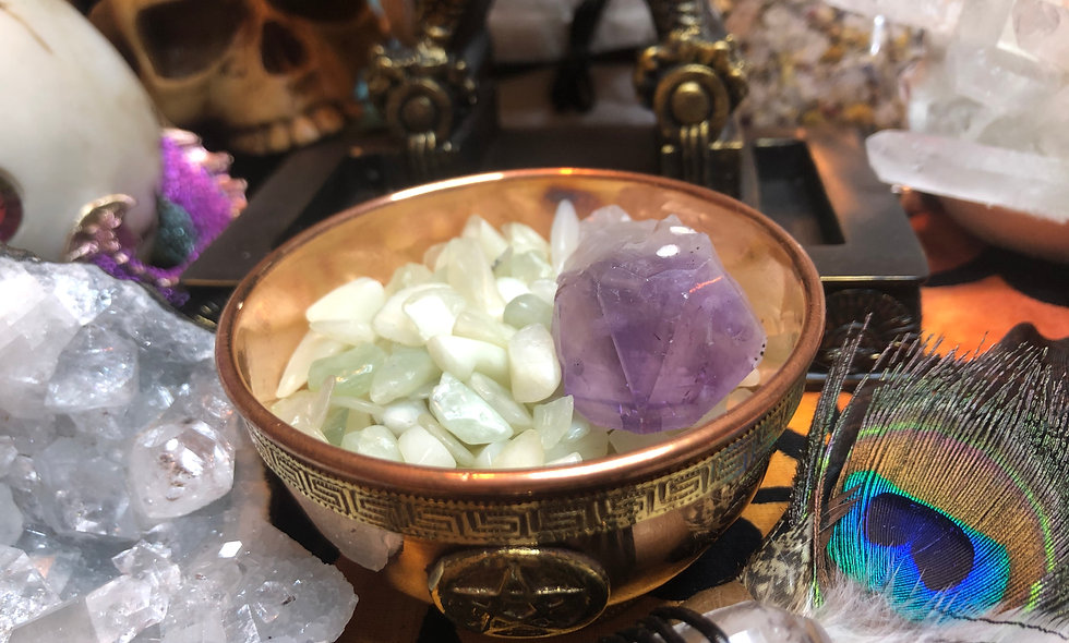 Crystal Chip Stones Tumbles Serpentine Jade