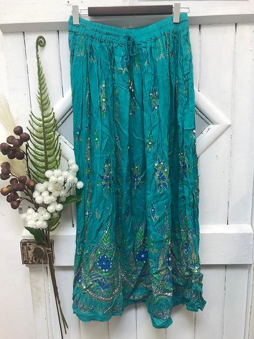 Hippie Boho Gypsy Skirt Long Teal