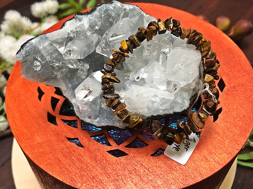 Tigers Eye Semiprecious Stone Chip Bracelet