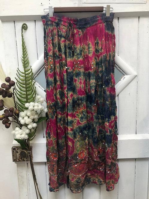 Hippie Boho Gypsy Skirt Long Pink Green Tie Dye