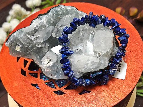 Lapis Lazuli Semiprecious Stone Chip Bracelet