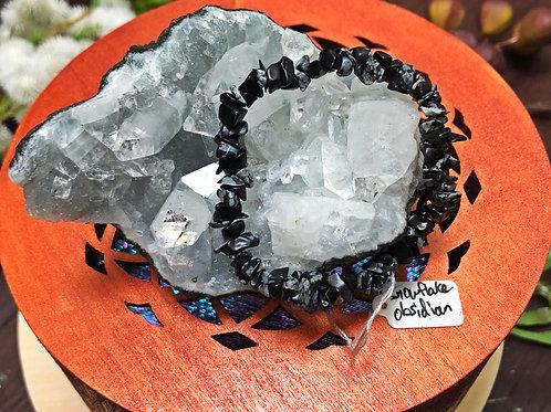Snowflake Obsidian Semiprecious Stone Chip Bracelet