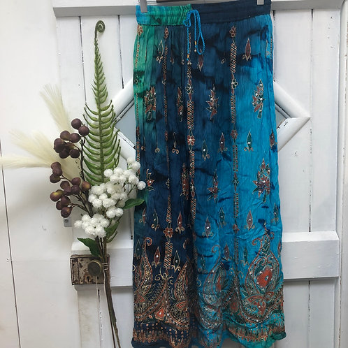 Hippie Boho Gypsy Skirt Long Blue Tie Dye