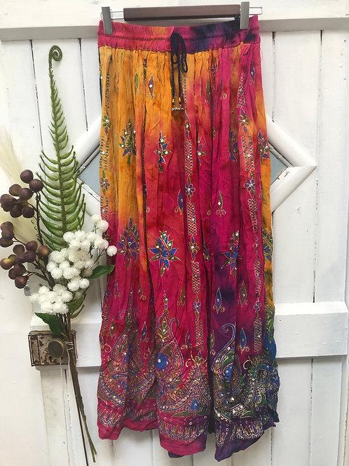 Hippie Boho Gypsy Skirt Long Pink Sunset Tie Dye