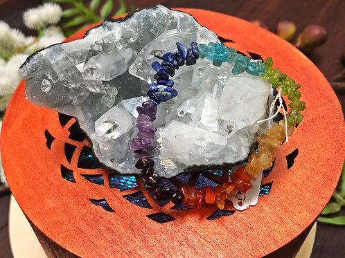 7 Chakras Semiprecious Stone Chip Bracelet