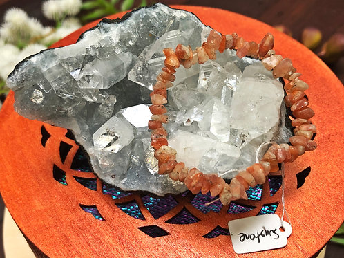 Sunstone Semiprecious Stone Chip Bracelet