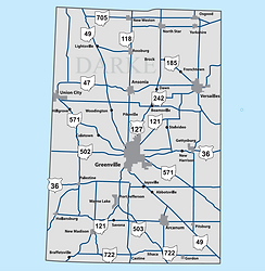 Darke County Ohio Map